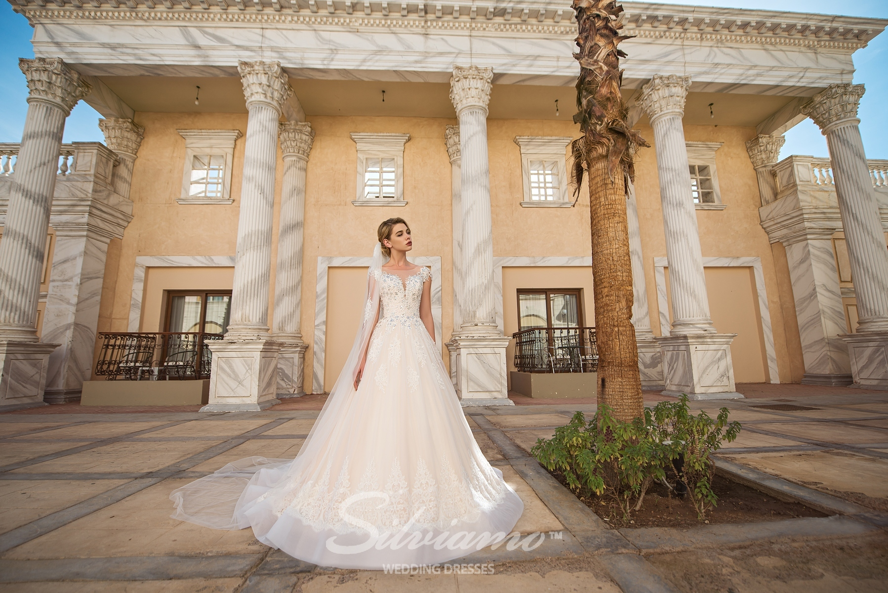 Wedding dress with a deep front cut-1