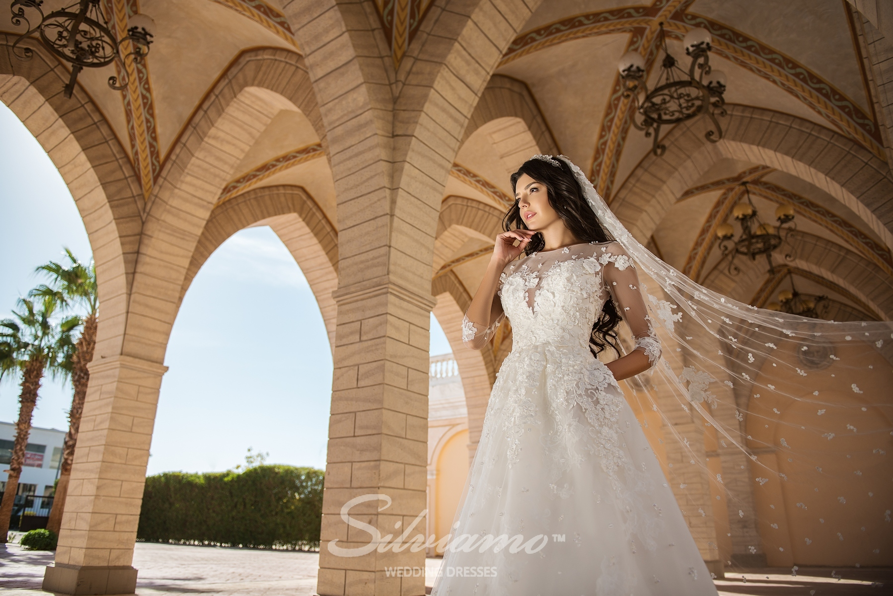 Wedding dress on a yoke with 3/4 sleeves-1