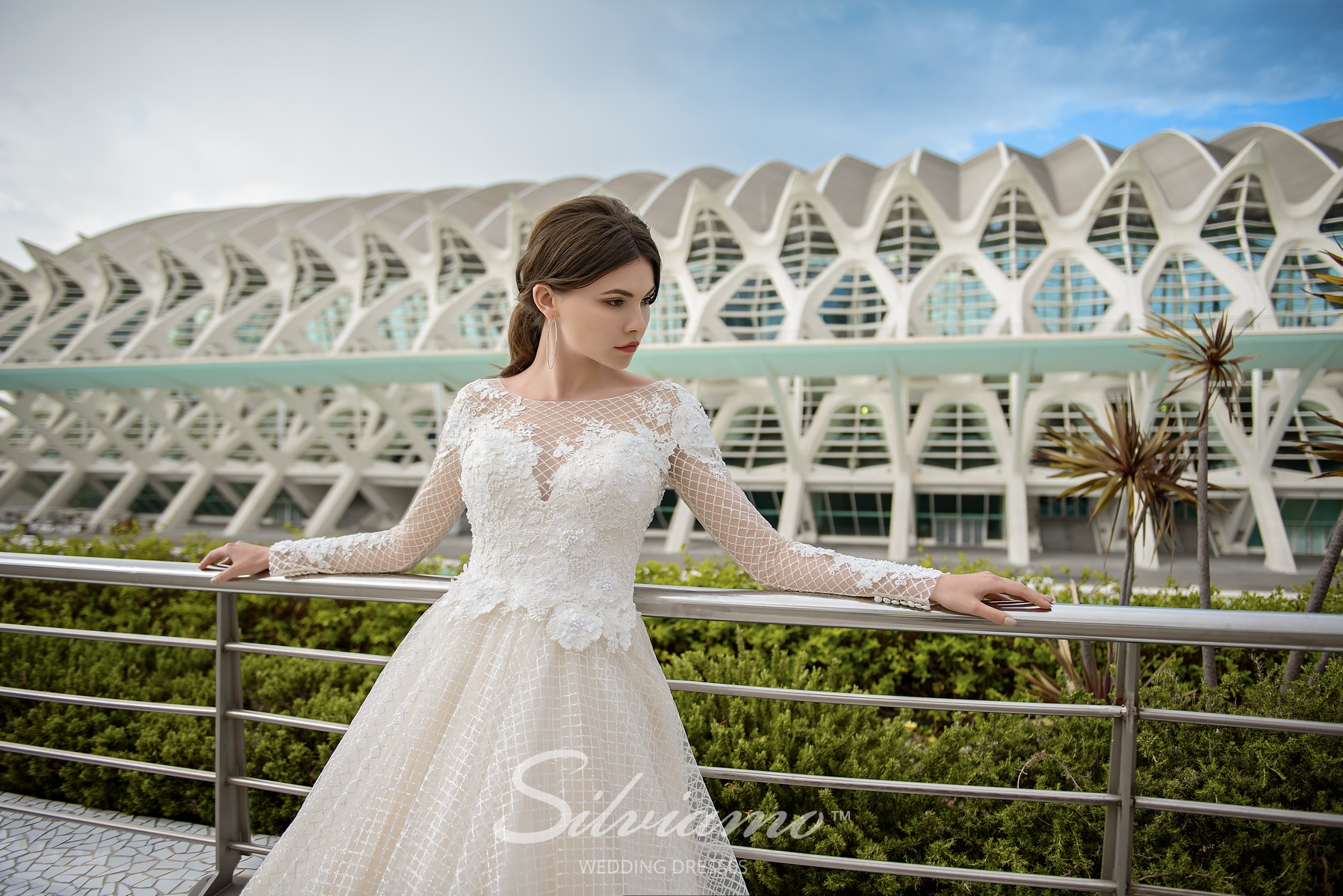 Wedding dress from a fabric mesh with long sleeves from Silviamo-1