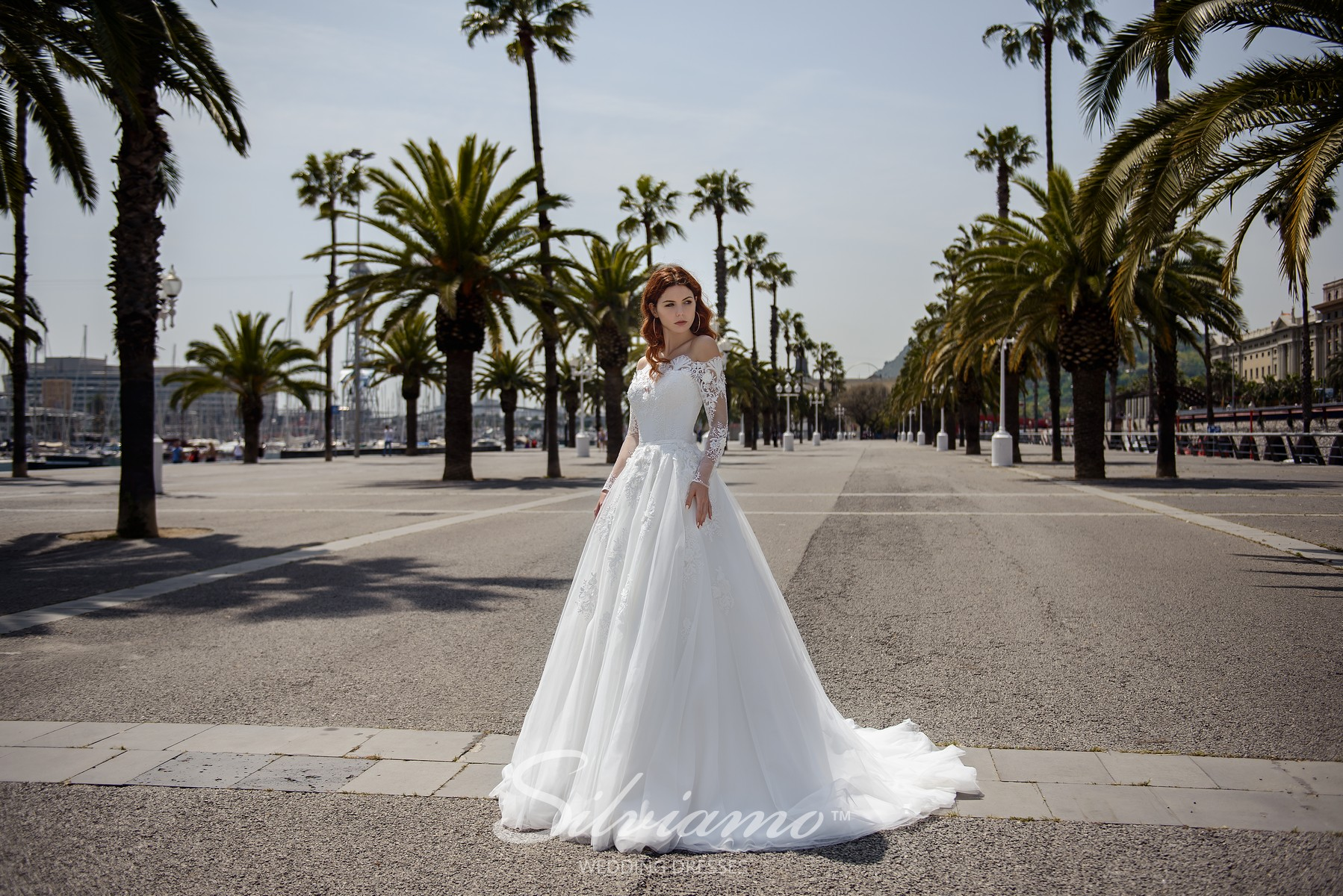White wedding dresses with lace corset and lush skirts from Silviamo-1