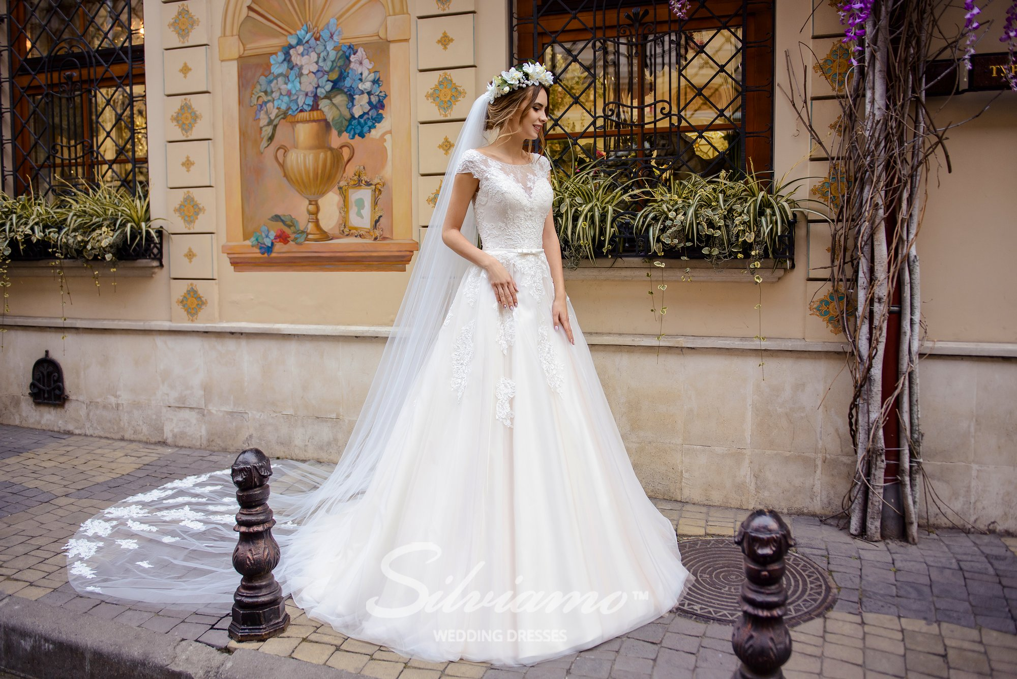 Wedding dress with a puffy  skirt-train on wholesale by Silviamo-1