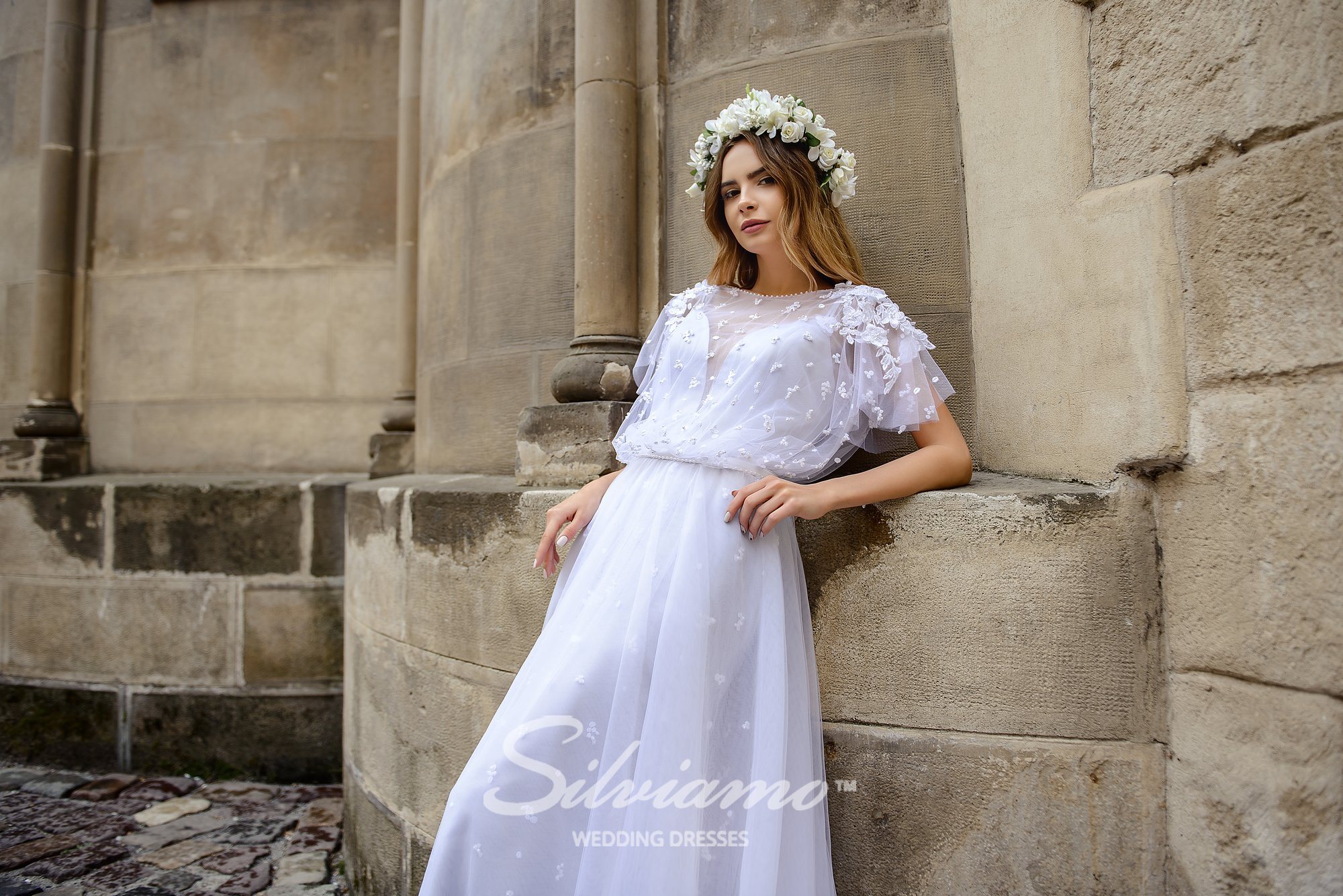 Gray wedding dress with the cape on wholesale by Silviamo-1