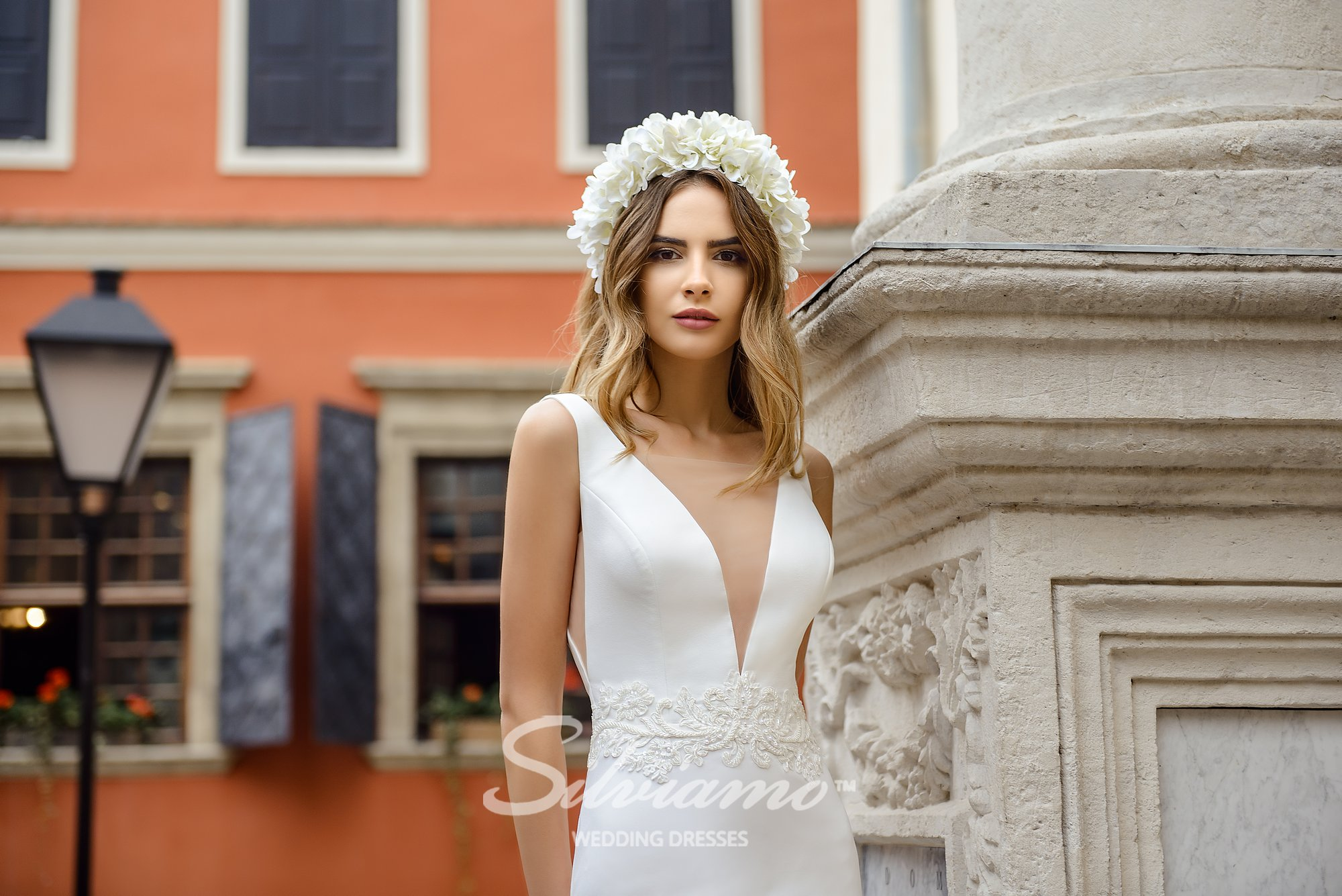 Wedding dress of crepe-chiffon on wholesale by Silviamo-1