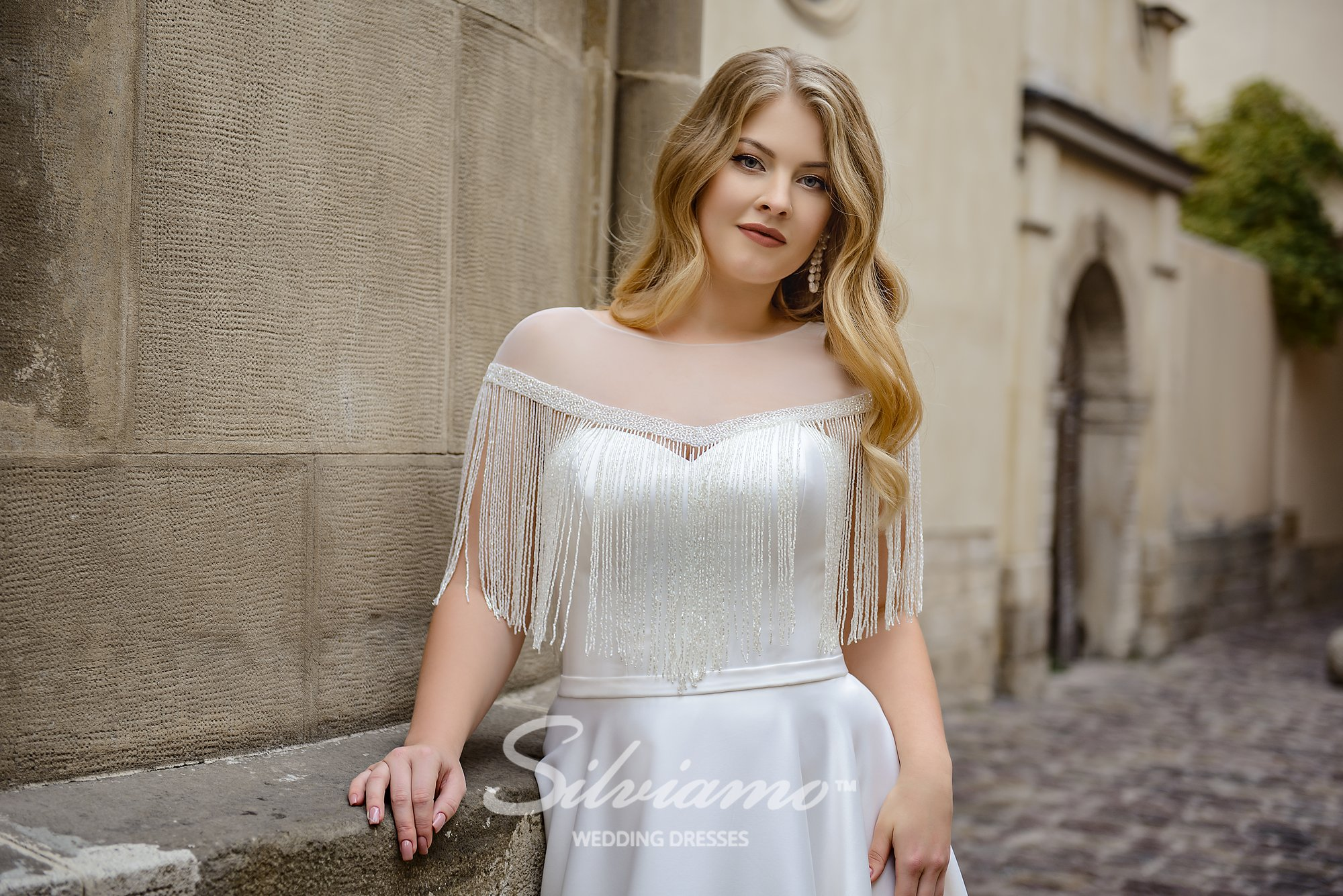 Plus size wedding dress with the cape with a  fringe on wholesale by Silviamo-1
