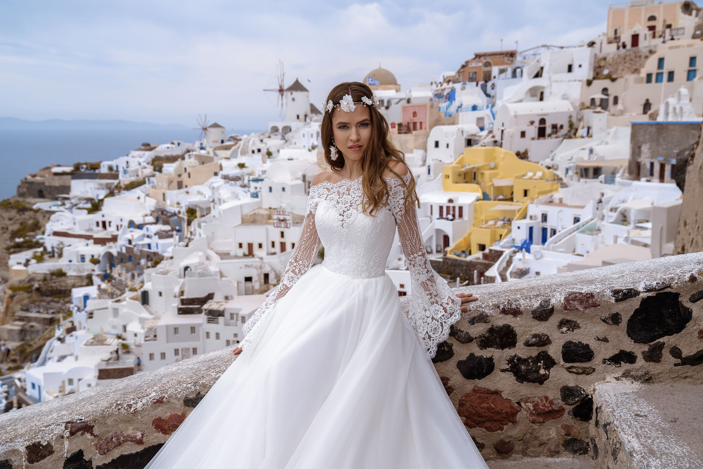 Wedding dress with bell sleeves wholesale from Silviamo-1