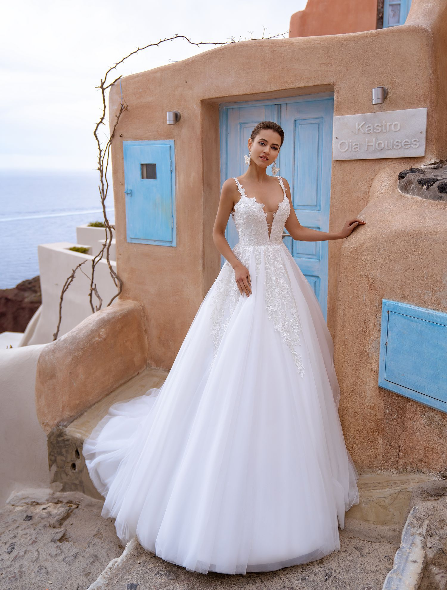 Wedding dress with open back and straps wholesale from Silviamo-1