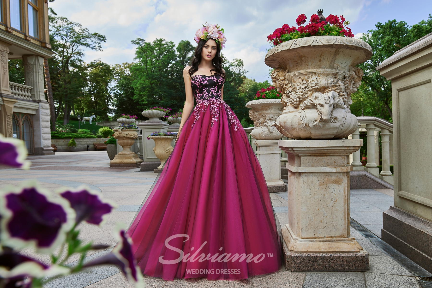 Voluminous evening  dress with straps with  train on wholesale from Silviamo-1