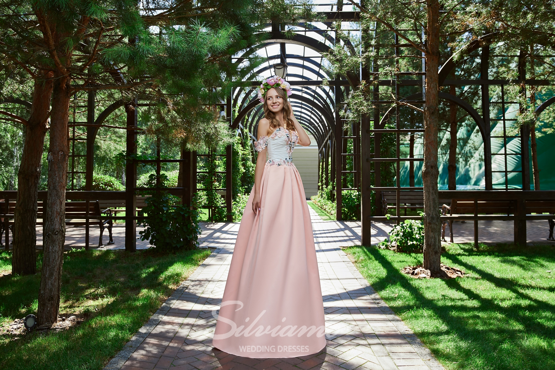 Long evening dresses with draped corset and skirts with elegant folds from Silviamo.-1