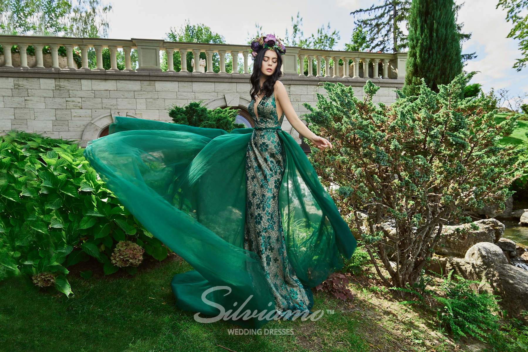 Evening dress of godet silhouette with removable train on wholesale from ™ Silviamo.-1