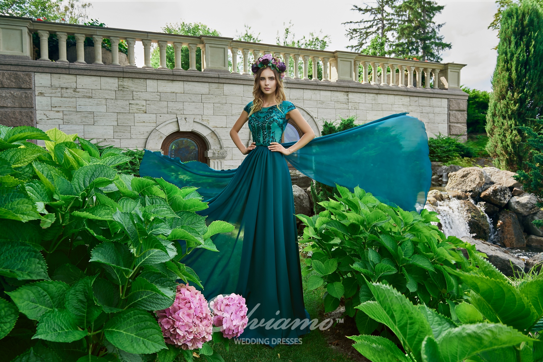 A straight evening dress with the belt on wholesale from ™ Silviamo.-1