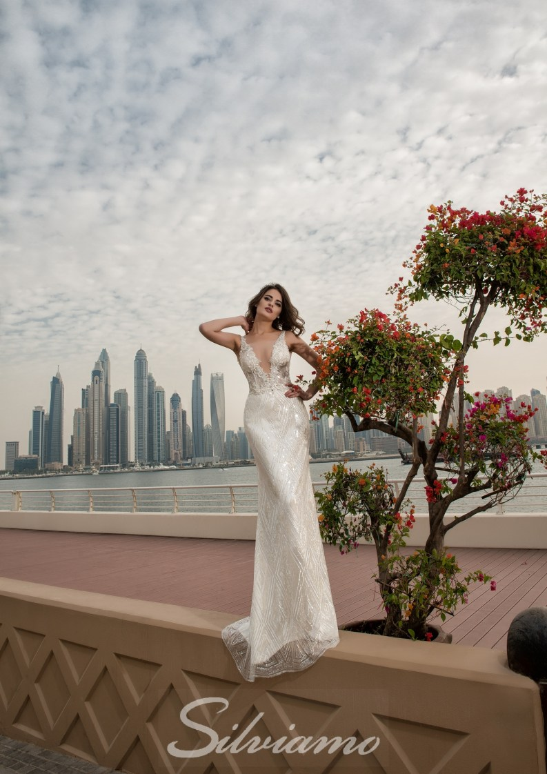 Wedding dress with a V-shape neckline-4