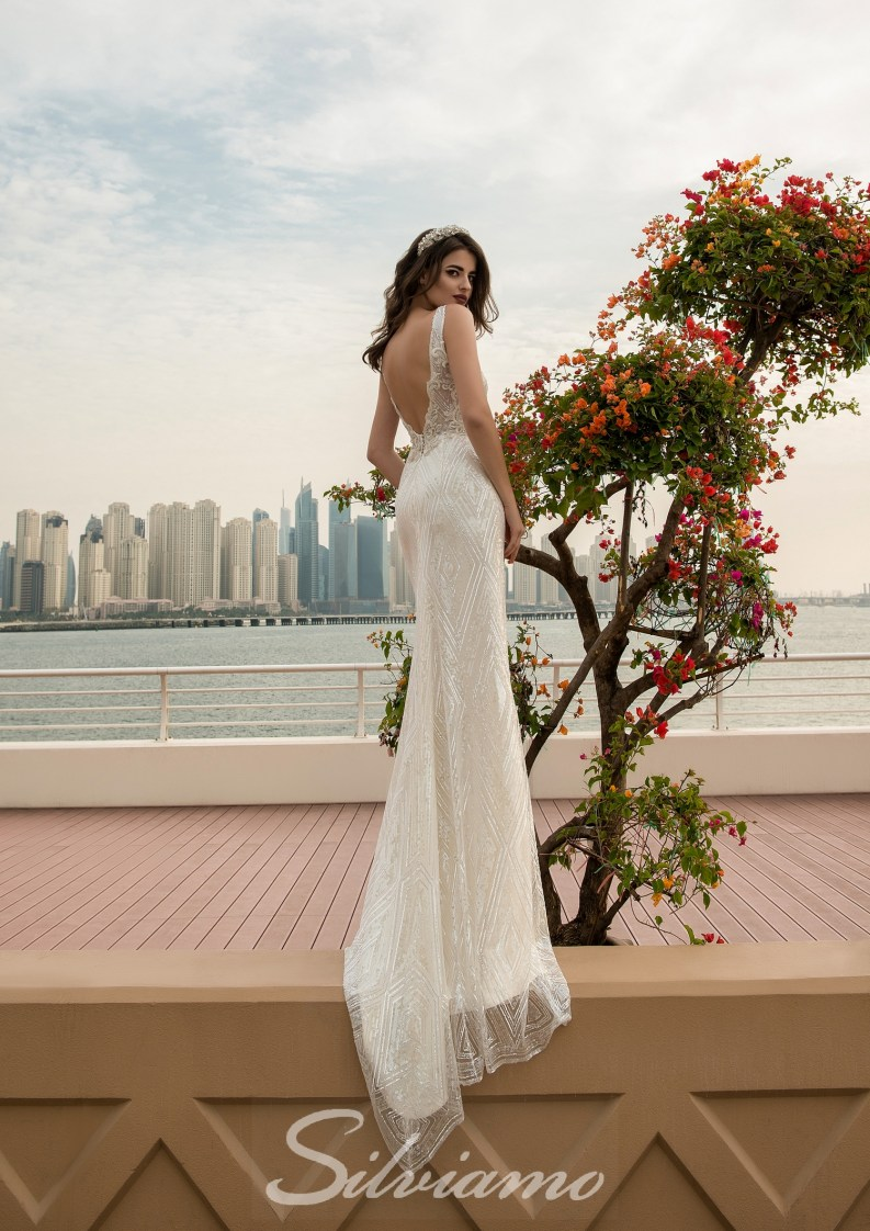 Wedding dress with a V-shape neckline-5