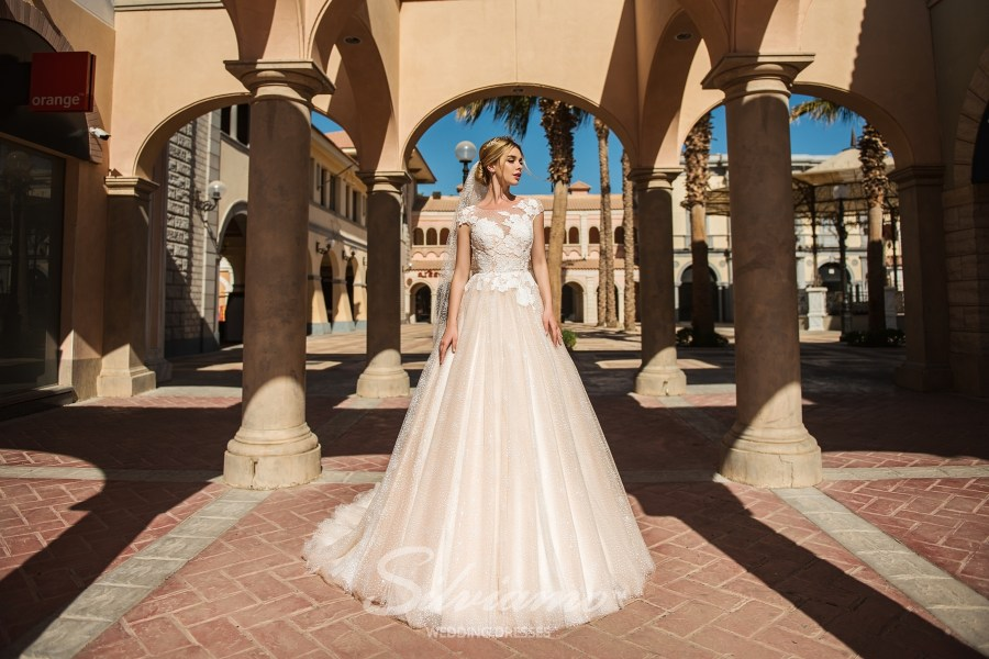 Wedding dress made of glimmering fabric S-416-Ashley