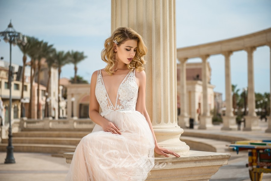 Wedding dress with cups S-428-Abby