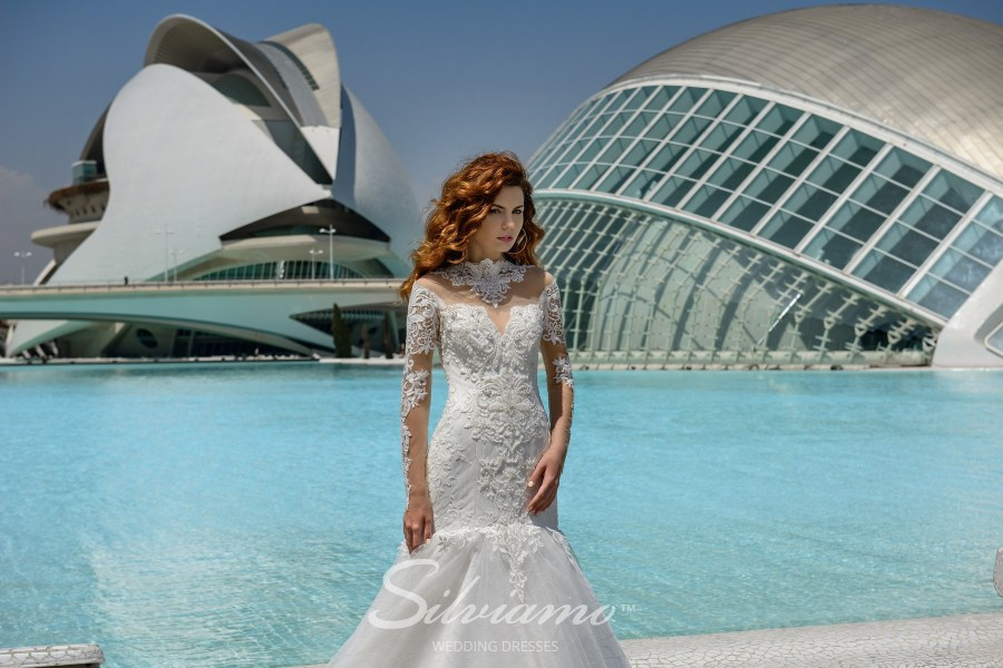Wedding mermaid dress  with long sleeves from Silviamo S-455-Virginia