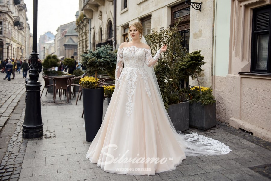 Plus size wedding dress with imitation of uncovered shoulders on wholesale by Silviamo S-483-Shelby