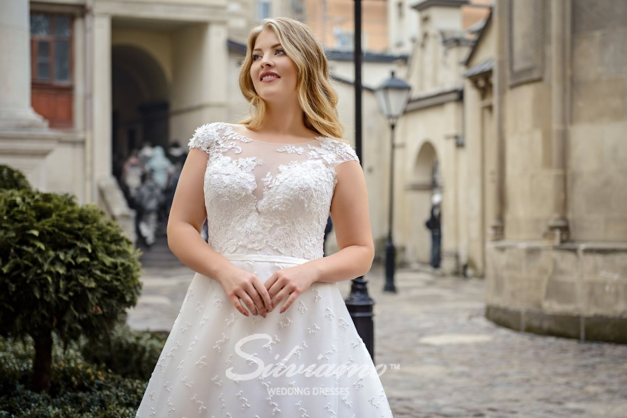 A-line plus size guipure  wedding dress on wholesale by Silviamo S-485-Scylla