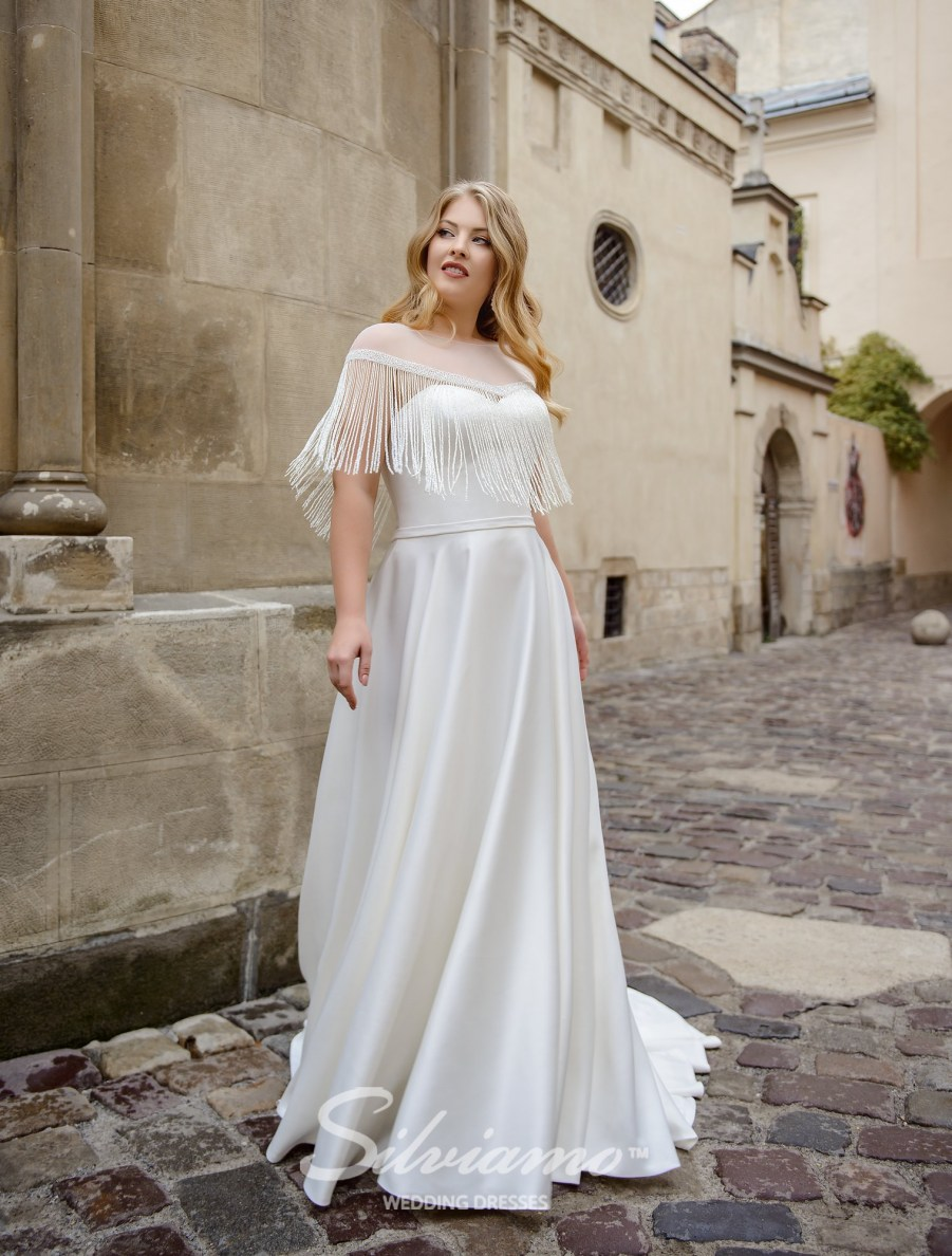 Plus size wedding dress with the cape with a  fringe on wholesale by Silviamo-3