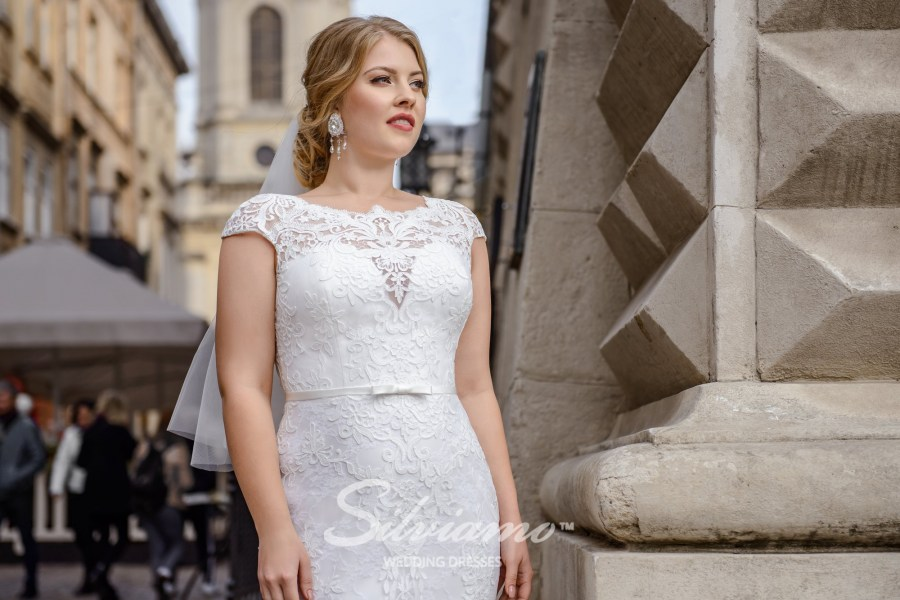 Plus size close-fitting guipure wedding dresses on wholesale by Silviamo S-489-Simоna