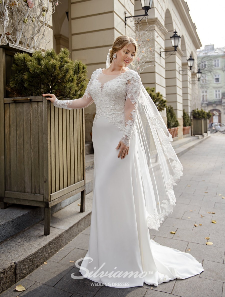 plus-size wedding dresses, Plus size dresses, buy wholesale, delivery, countries, fitted, style, lace corset, long sleeves, Silviamo-2