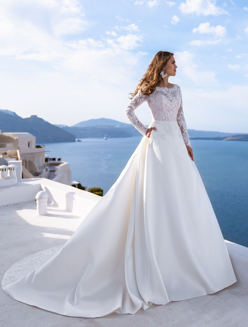 "Wedding dress ""А"" - line with long sleeves from TM Silviamo wholesale-2"