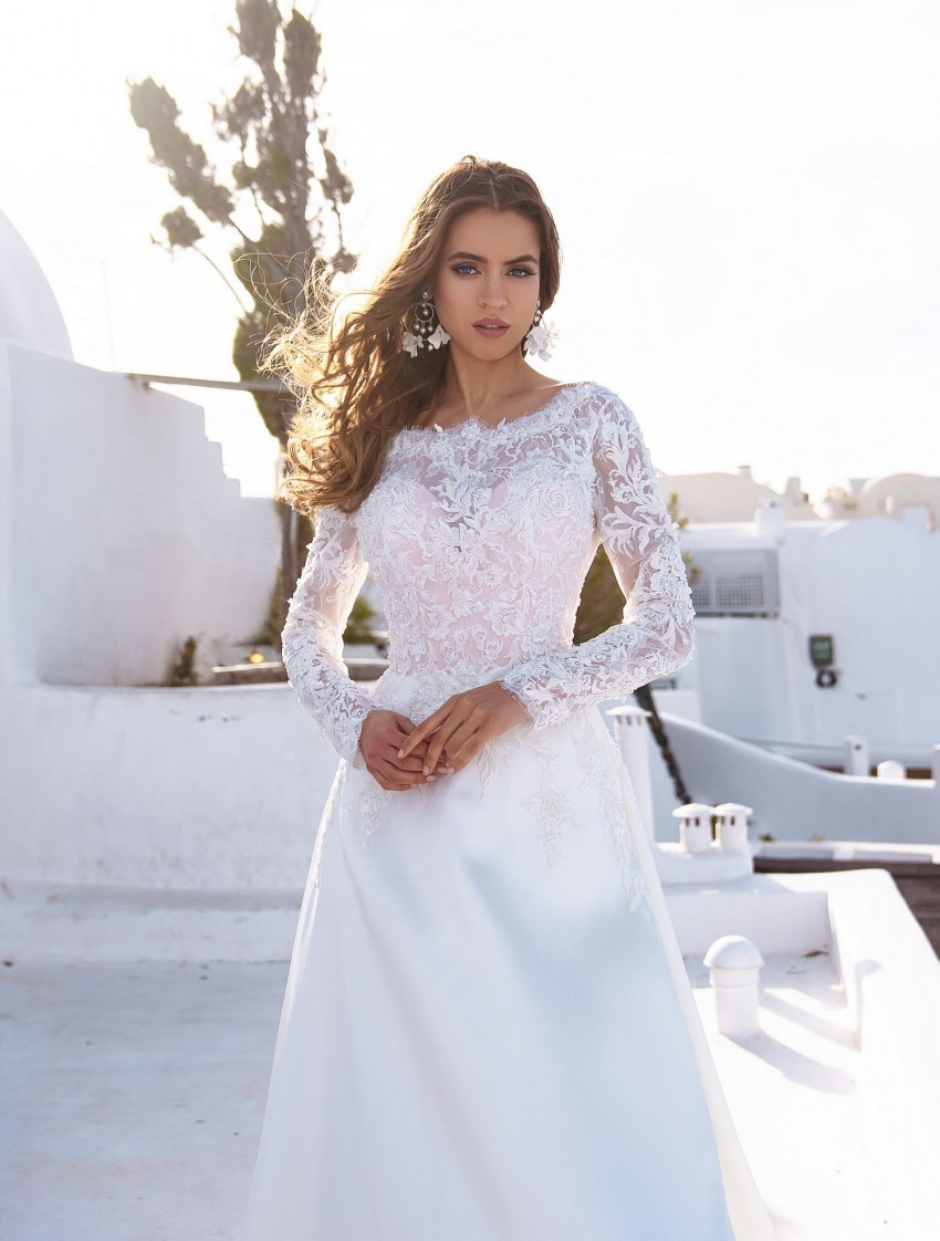 "Wedding dress ""А"" - line with long sleeves from TM Silviamo wholesale-3"