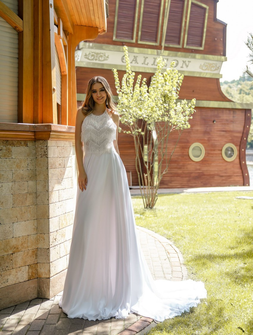Wedding dress with beaded yarns  wholesale from Silviamo-2