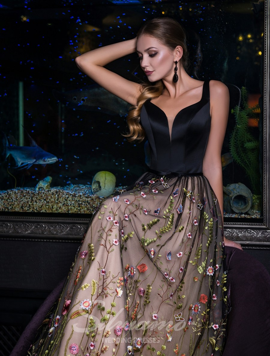 Evening dress on straps with guipure skirt-1