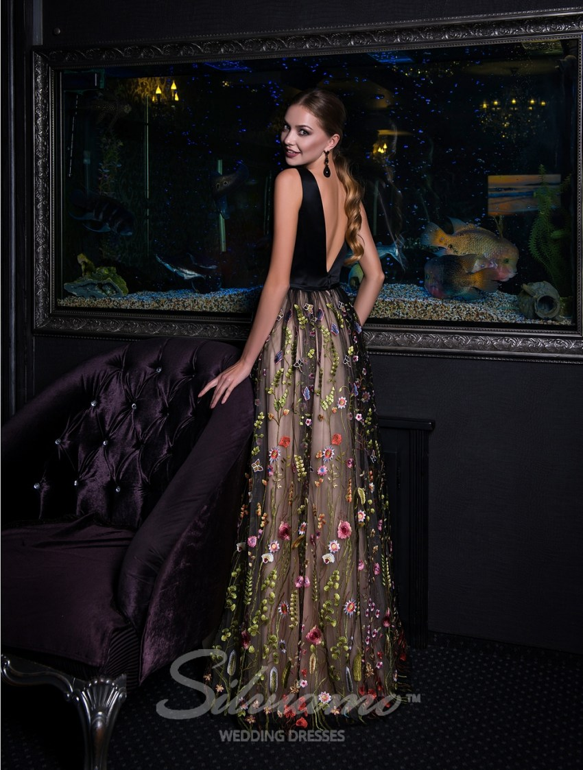 Evening dress on straps with guipure skirt-4
