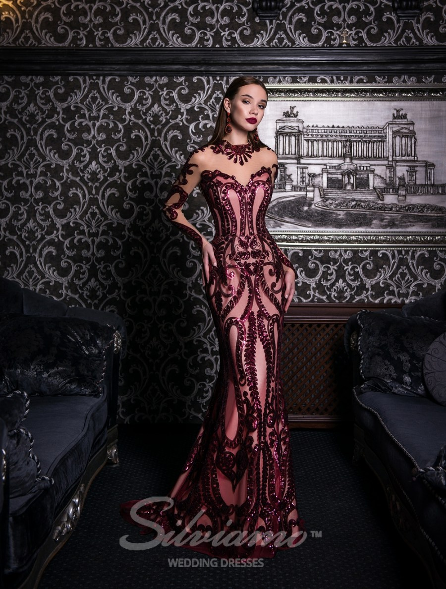 Evening godet dress with a train-1