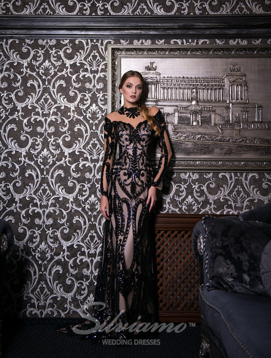 Evening godet dress with a train-2