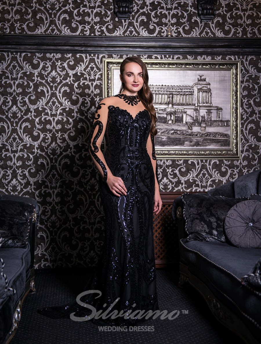 Evening godet dress with a train-3
