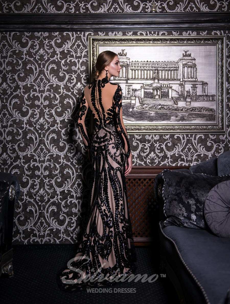 Evening godet dress with a train-4