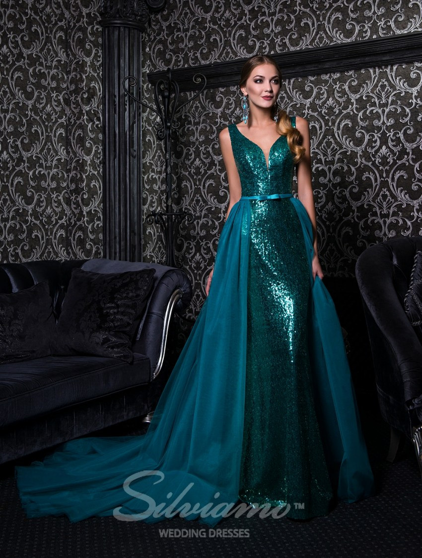Evening dress on straps with a removable train-2