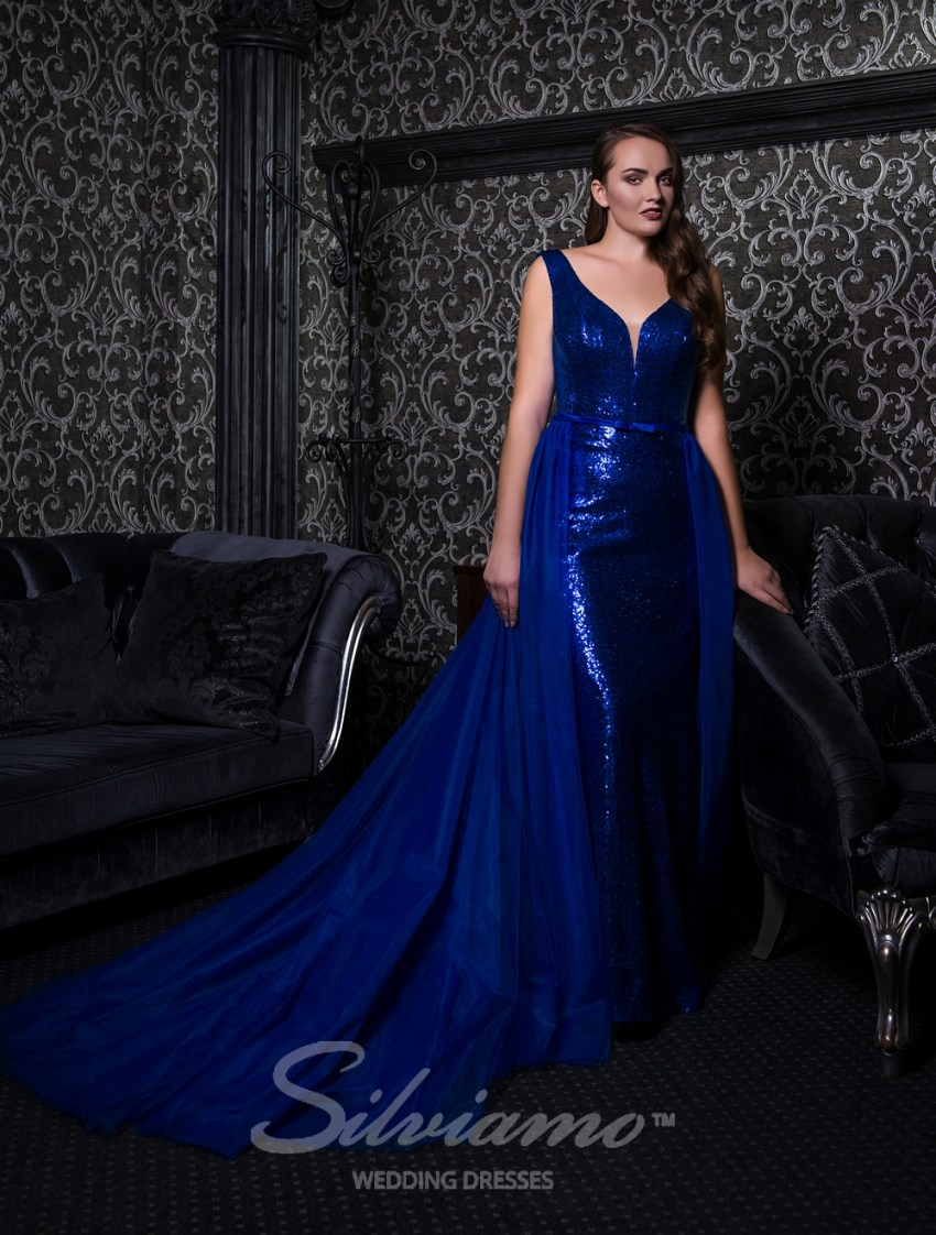 Evening dress on straps with a removable train-3