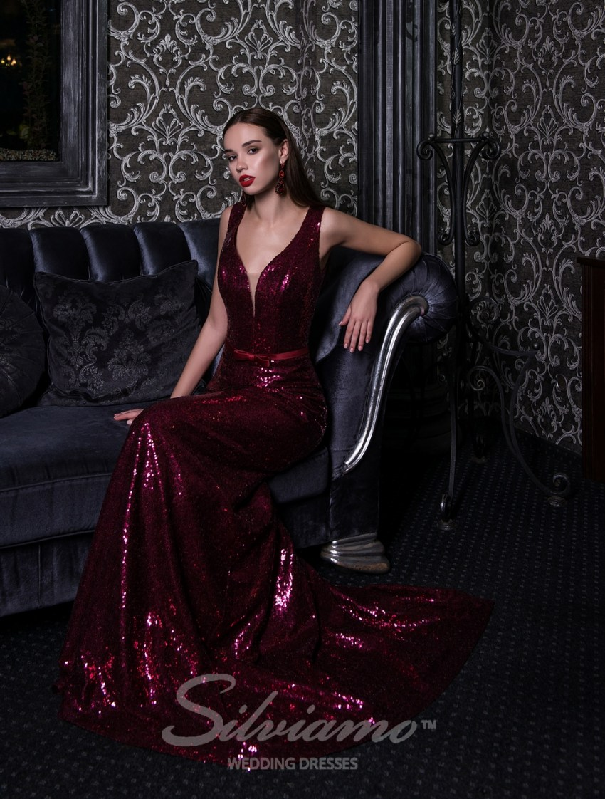 Evening dress on straps with a removable train-4