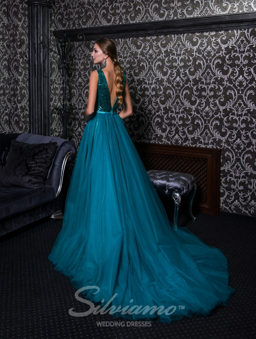 Evening dress on straps with a removable train-5