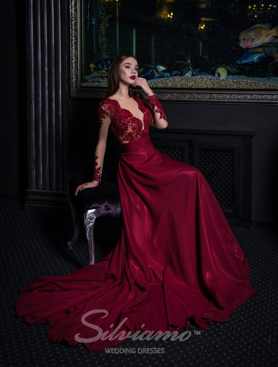 Evening dress on a yoke with long sleeves-3