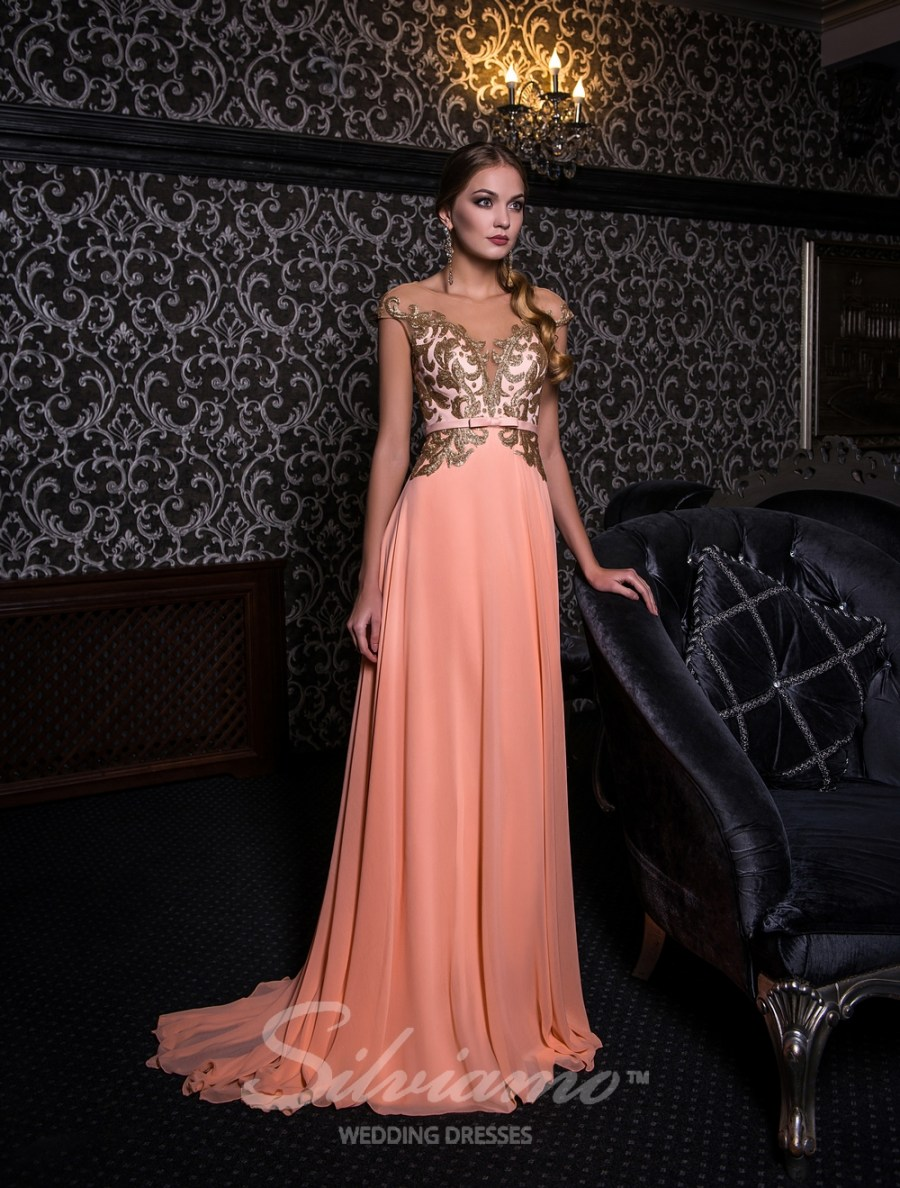 Evening dress with gold sequins V-154