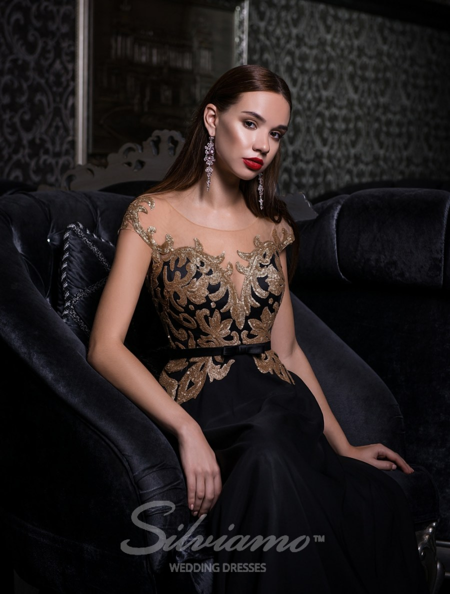 Evening dress with gold sequins-2