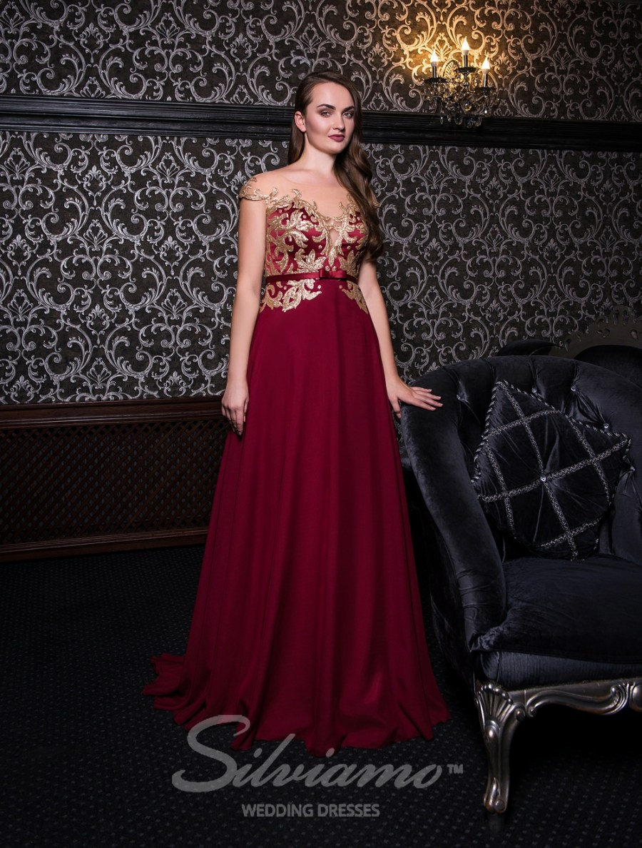 Evening dress with gold sequins-3