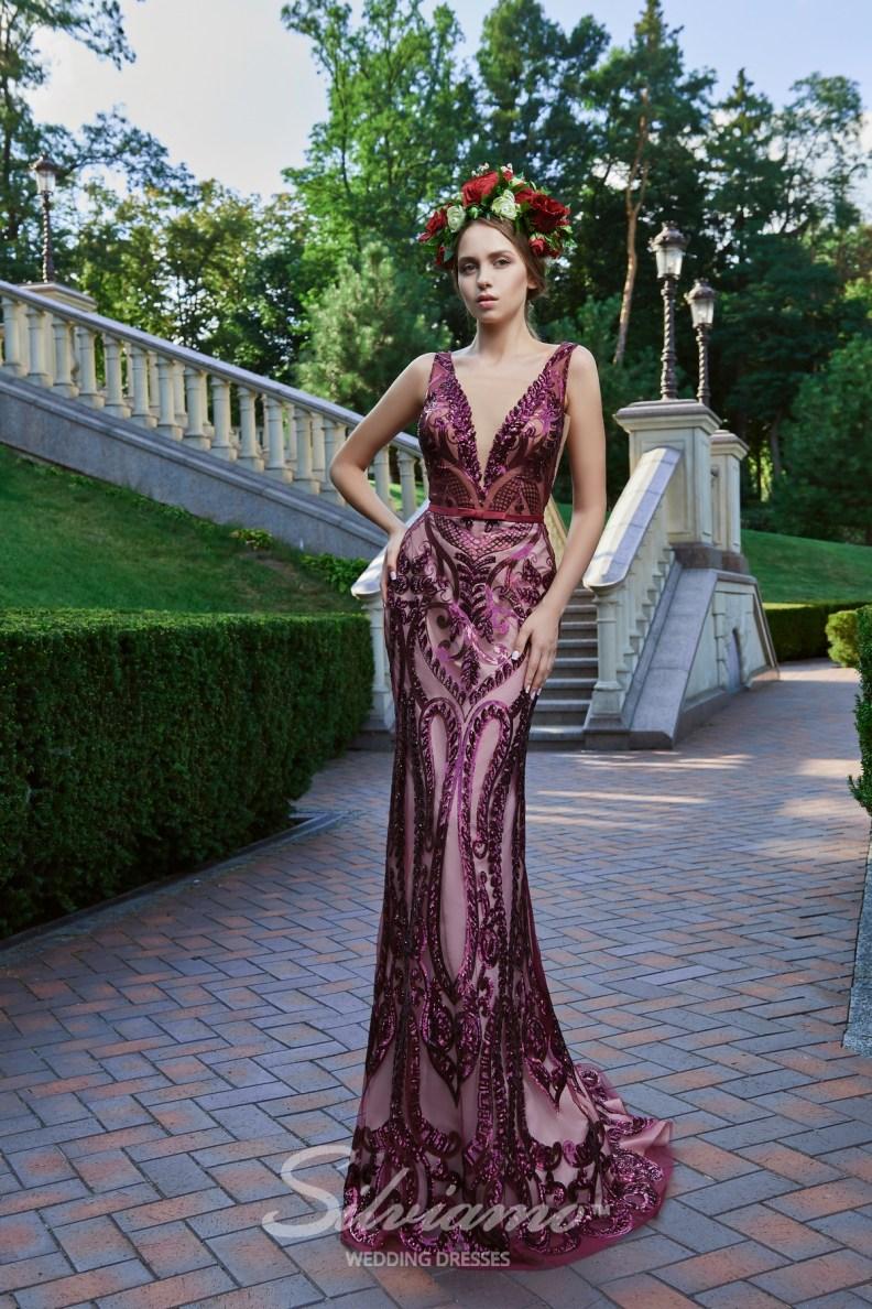 Вечернее платье русалка с расщепленным корсетом