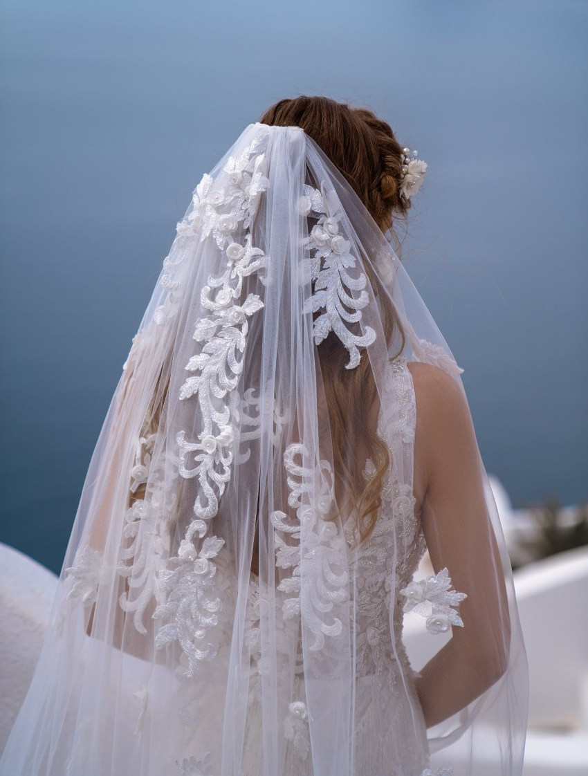 """Bunch"" veil of thin tulle from the manufacturer Silviamo at wholesale prices F-064"