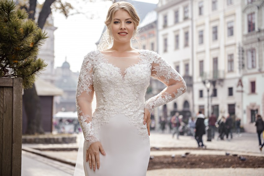 """Ivory plus size wedding dress of """"godet"""" silhouette with long sleeves on wholesale.-2"""