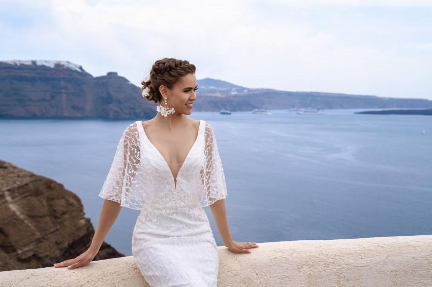 Легкое свадебное платье с рукавами-крылышками от ТМ Silviamo оптом-2
