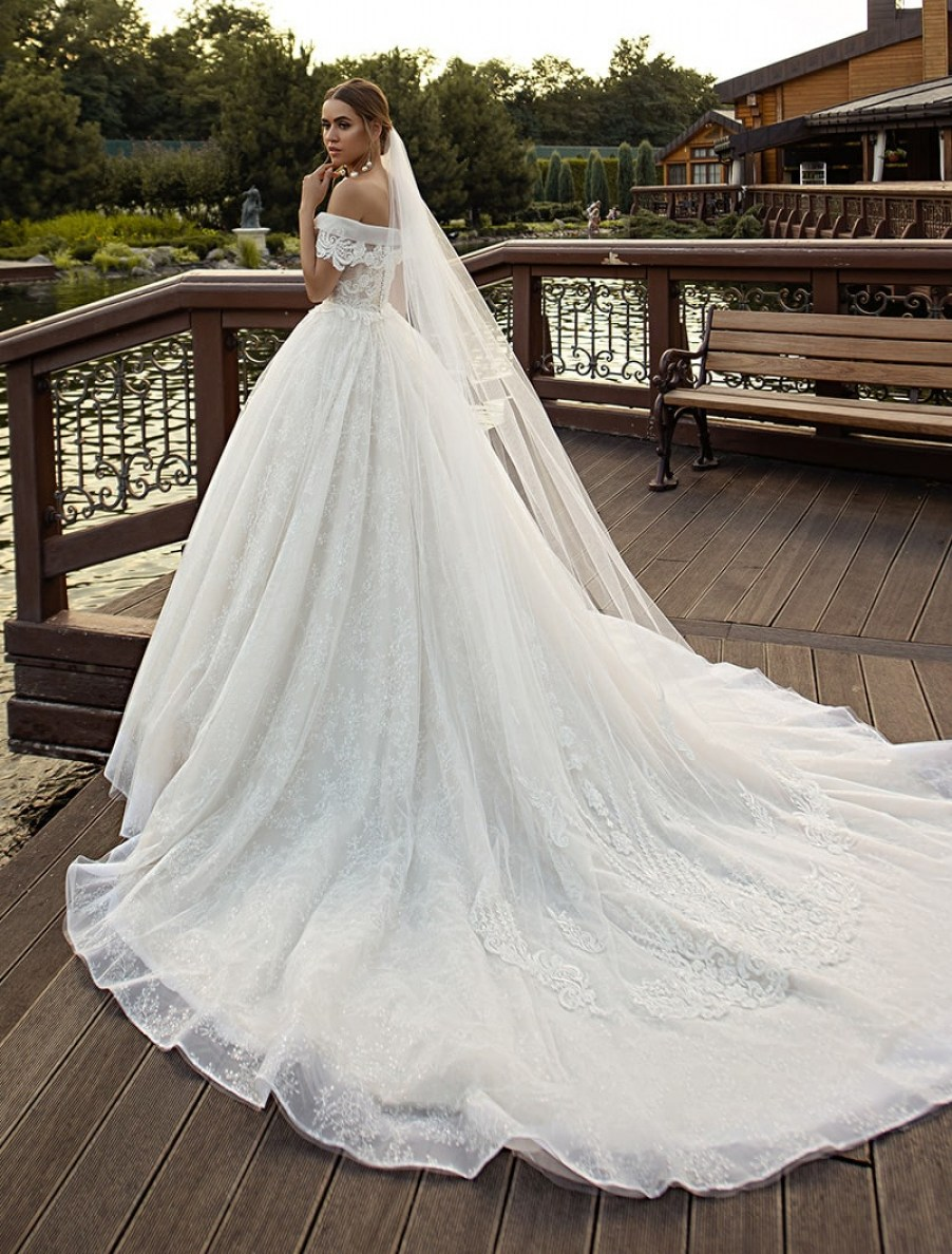 Off-shoulder puffy wedding dress from manufacturer Silviamo S-523-LINCY