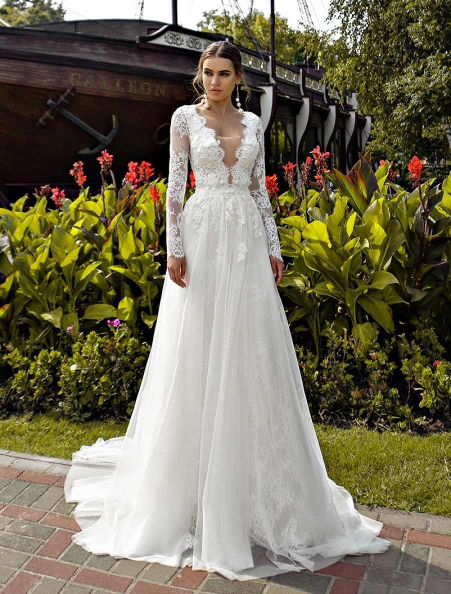 Guipure wedding dress with sleeves wholesale from Silviamo S-525-LORA