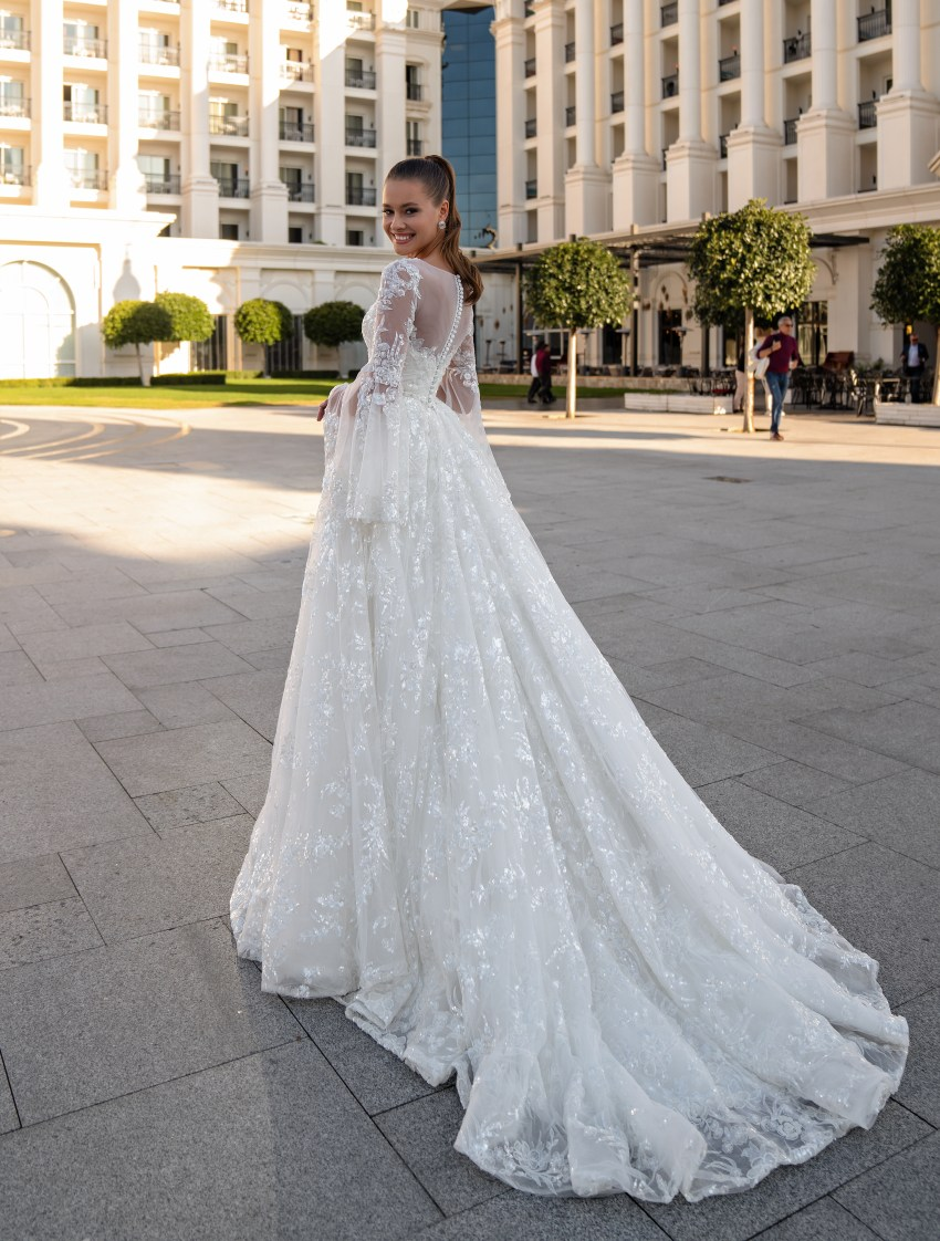 Wedding dress with long sleeves-5