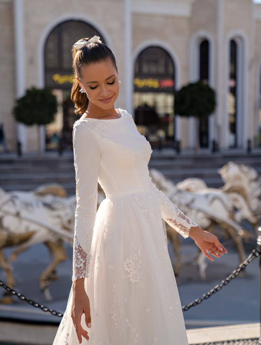 Conservative wedding dress with long sleeves and a soft guipure skirt-5