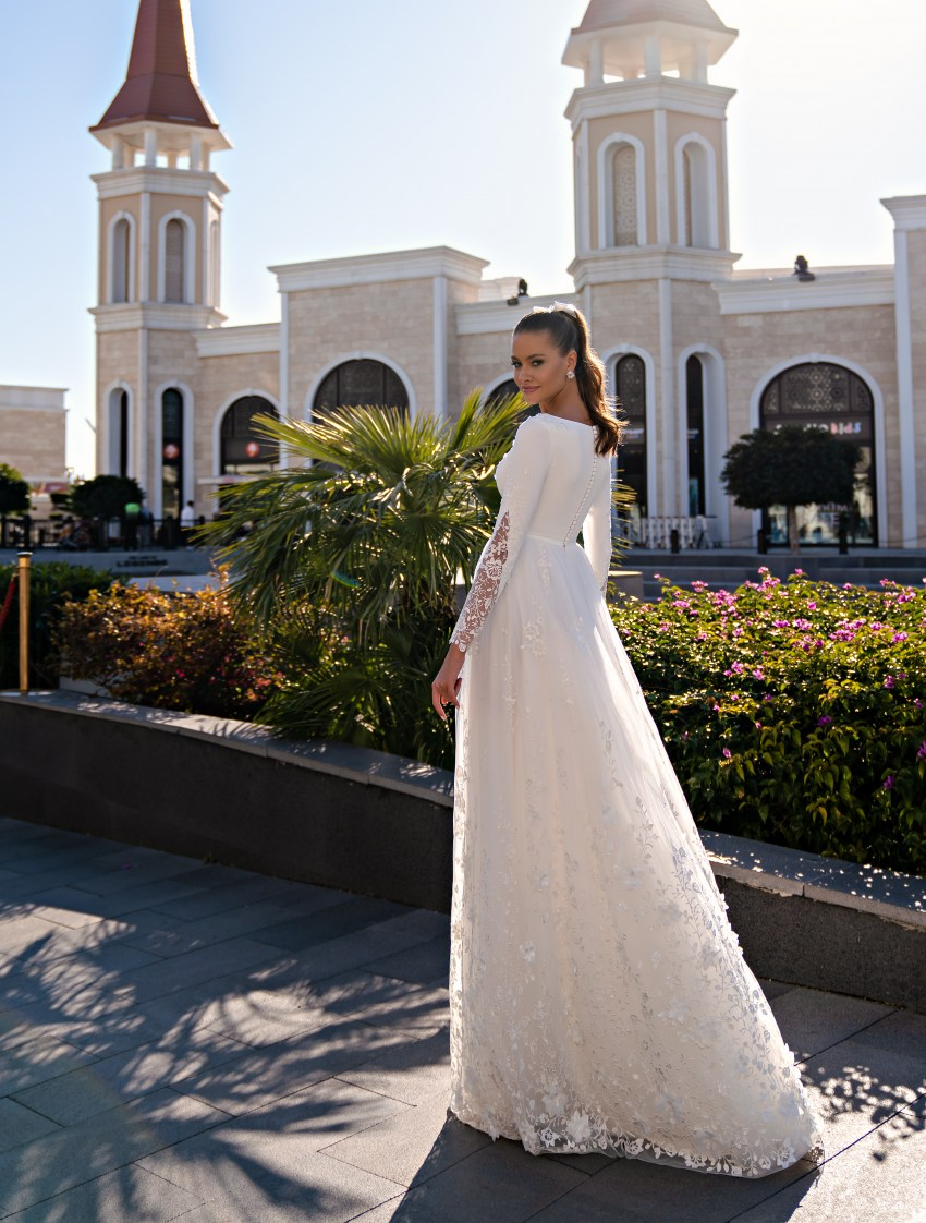 Conservative wedding dress with long sleeves and a soft guipure skirt-3